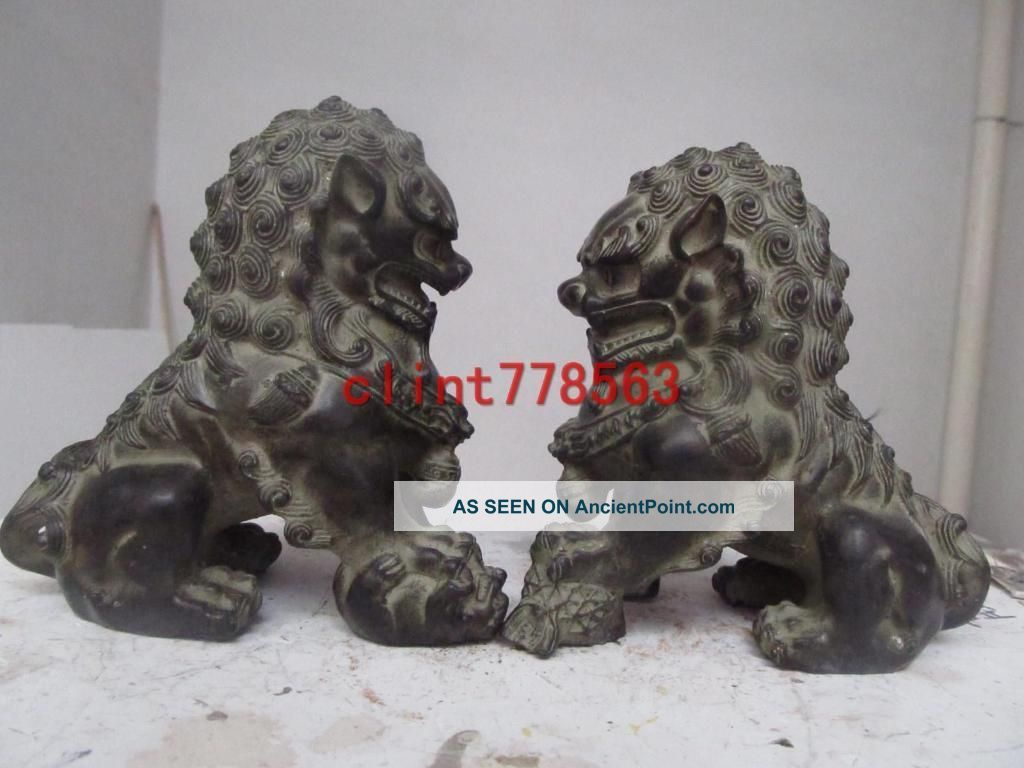 China Classic Imperial Family Refined The Old Bronze Door Foo Dog Lion Pair Reproductions photo