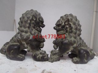 China Classic Imperial Family Refined The Old Bronze Door Foo Dog Lion Pair photo