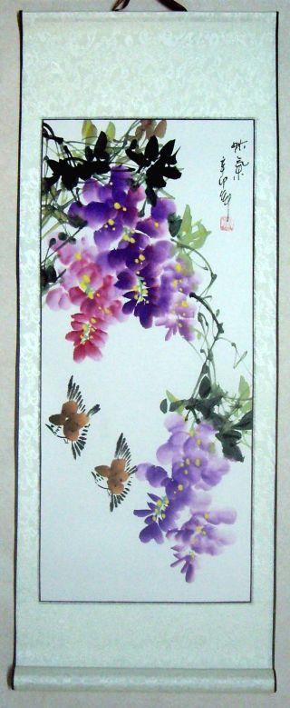 Japanese Art Painting Scroll Flower,  Birds @837 photo