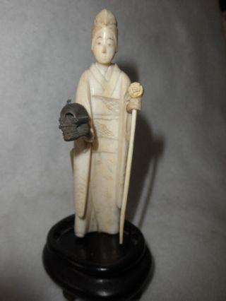 Antique Hand Carved Netsuke Rare Unusual Figural Lady Skull Walking Stick Base photo