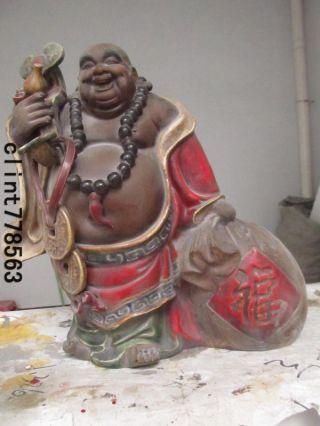 China Art Refined Wucai Porcelain Dragon Laughter Maitreya Buddha Statue photo
