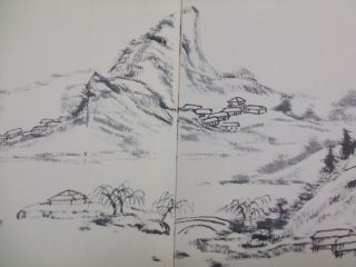 Japanese Indian Ink Drawing Sumie About Mountain Village photo