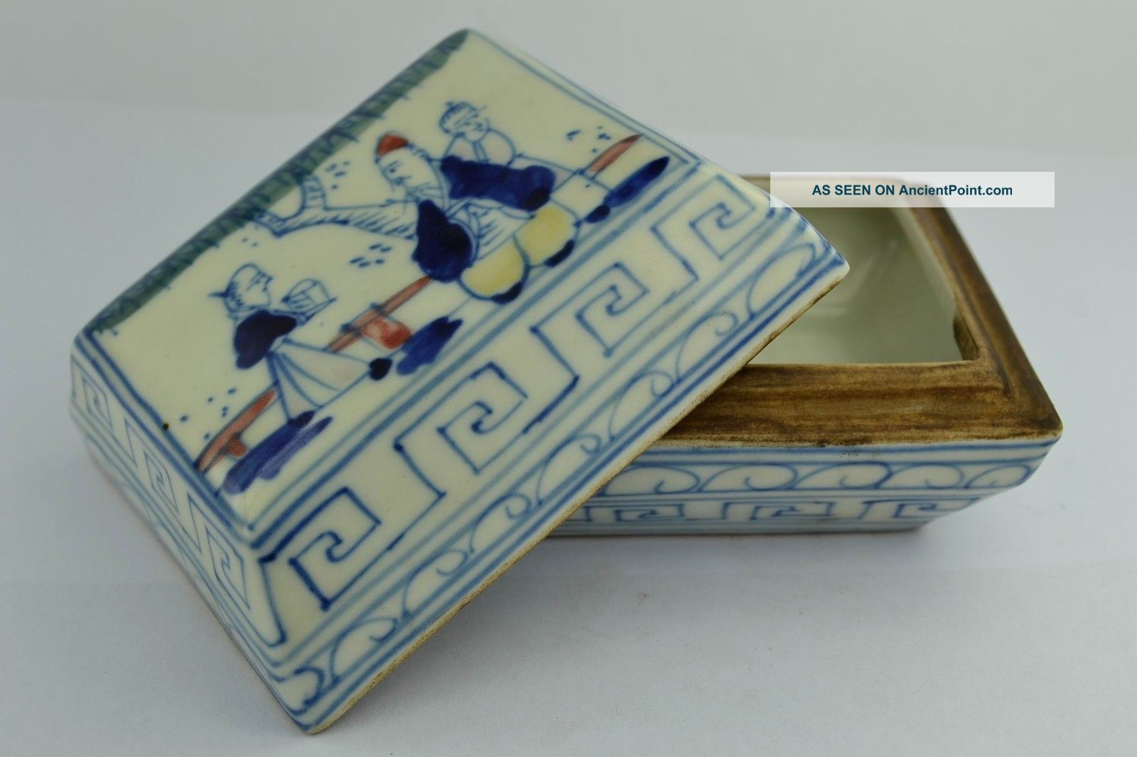 Asian Old Collectibles Decorated Handwork Porcelain Painting Older Rouge Box Boxes photo
