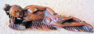 Oriental Lady Laying Down On A Leaf Rosewood 7.  25