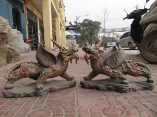 China Old Wucai Porcelain Evil Fu Foo Dog Fly Wing Beast Kylin Pair photo