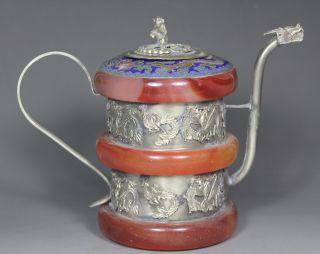 Chinese Handwork Dragon Phoenix Old Jade Tea Pot photo