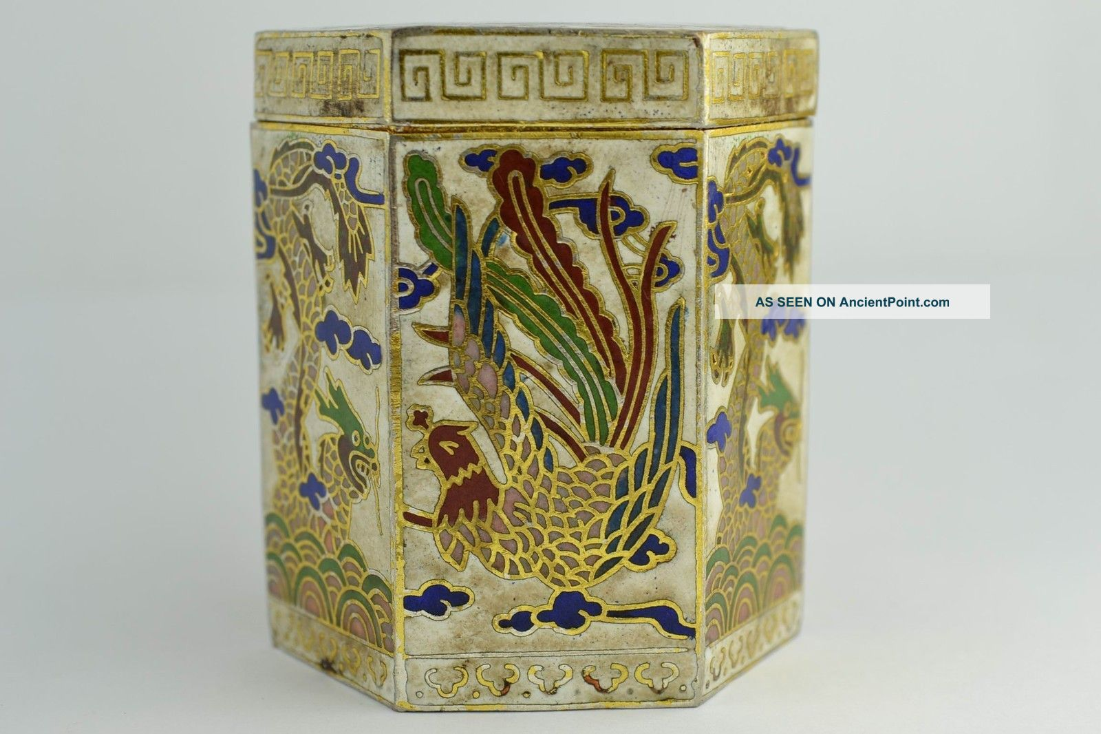 Asian Old Collectibles Decorated Handwork Cloisonne Dragon Phoenix Toothpick Box Boxes photo