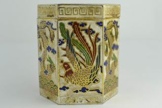 Asian Old Collectibles Decorated Handwork Cloisonne Dragon Phoenix Toothpick Box photo