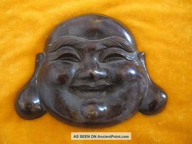 Chinese Bronze Buddha Head Smiling Gracious Heavy Exquisite Buddha photo