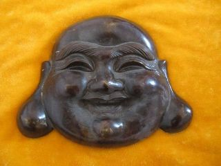 Chinese Bronze Buddha Head Smiling Gracious Heavy Exquisite photo