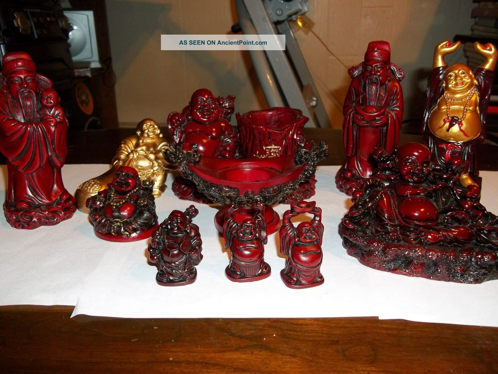 Chinese Tray & Buddhas Chinese Men 11 Pieces For Luck & More 12 Pieces Buddha photo
