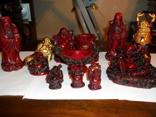 Chinese Tray & Buddhas Chinese Men 11 Pieces For Luck & More 12 Pieces photo