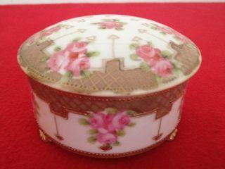 Hand Painted Nippon Trinket Or Powder Box photo