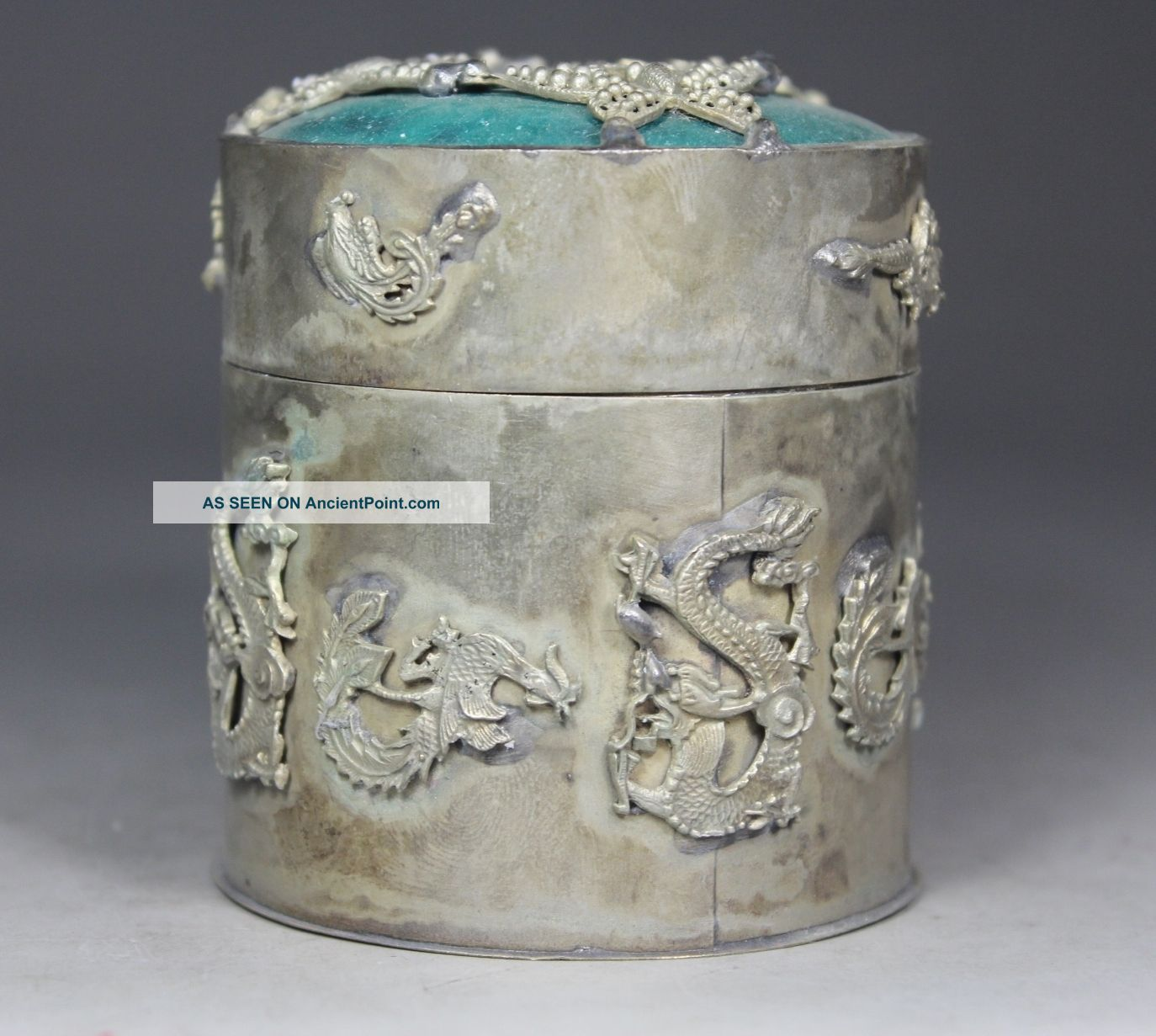 Chinese Old Jade Inlay Jade Armored Butterfly Dragon Phoenix Tobacco Box Boxes photo