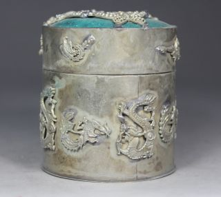 Chinese Old Jade Inlay Jade Armored Butterfly Dragon Phoenix Tobacco Box photo