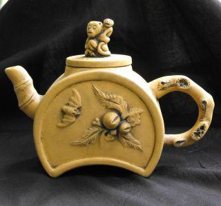 Antique Yixing Chinese Teapot Monkeys And Bat Marked On Bottom photo