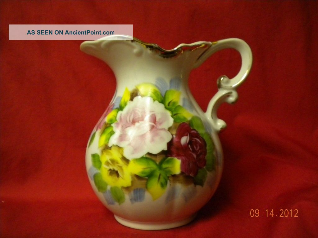 Antique Rose Pitcher With Gold Accents Boxes photo