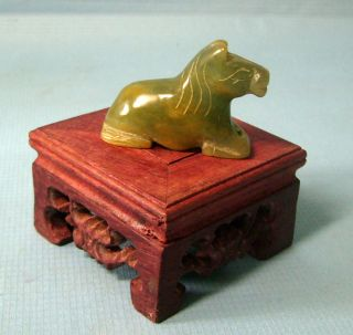 Vintage Jadite Hand Carved Horse On Exotic Wood Stand C Early 1900s U photo
