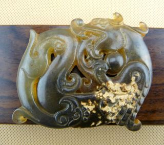 Chinese Classical Hand Carved Old Jade Pendant (dragon Jade Bi) /10 - 014 photo
