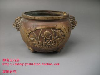 Js703 Rare,  Chinese Bronze Carved Lotus Incense Burners photo