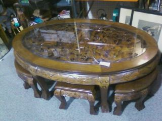 Chinese Antique Carved Teak Wood Tea Table With Glass Top And Six Stools photo