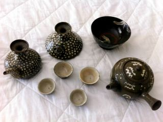 Antique Kutani Teapots W/4 Tea Cups photo