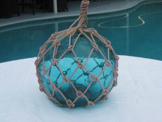 Antique Japanese Glass Fish Net Floats - Light Aqua Blue - Medium photo