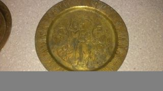 3 Chinese Engraved Brass Plates photo
