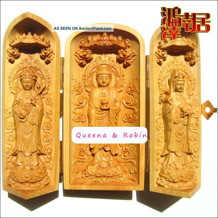 Chinese Wood Carved Boxwood Western Three Holy Buddha Amulet Netsuke Statue Box Buddha photo