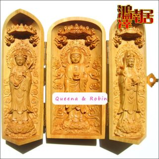 Chinese Wood Carved Boxwood Western Three Holy Buddha Amulet Netsuke Statue Box photo