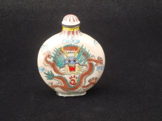 Chinese Antiques,  Ancient Snuff Bottle,  Enamel Snuff Bottle,  Dragon photo