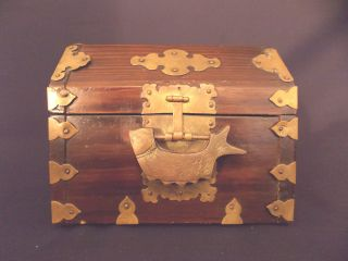 Antique Vintage Oriental Chinese Japanses Wood/ Brass Jewelry Trinkle Box photo