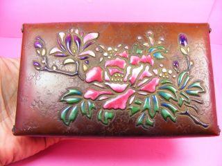 Antique Ando Jubei Moriage Enameled Japanese Copper Box Wireless Cloisonne photo