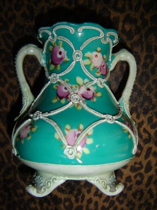 Nippon Double Handled Footed Vase - Moriage Hand Painted - Lovely Nr photo