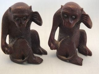 2 Chinese Carved Hardwood Studies Of Monkeys 20thc photo