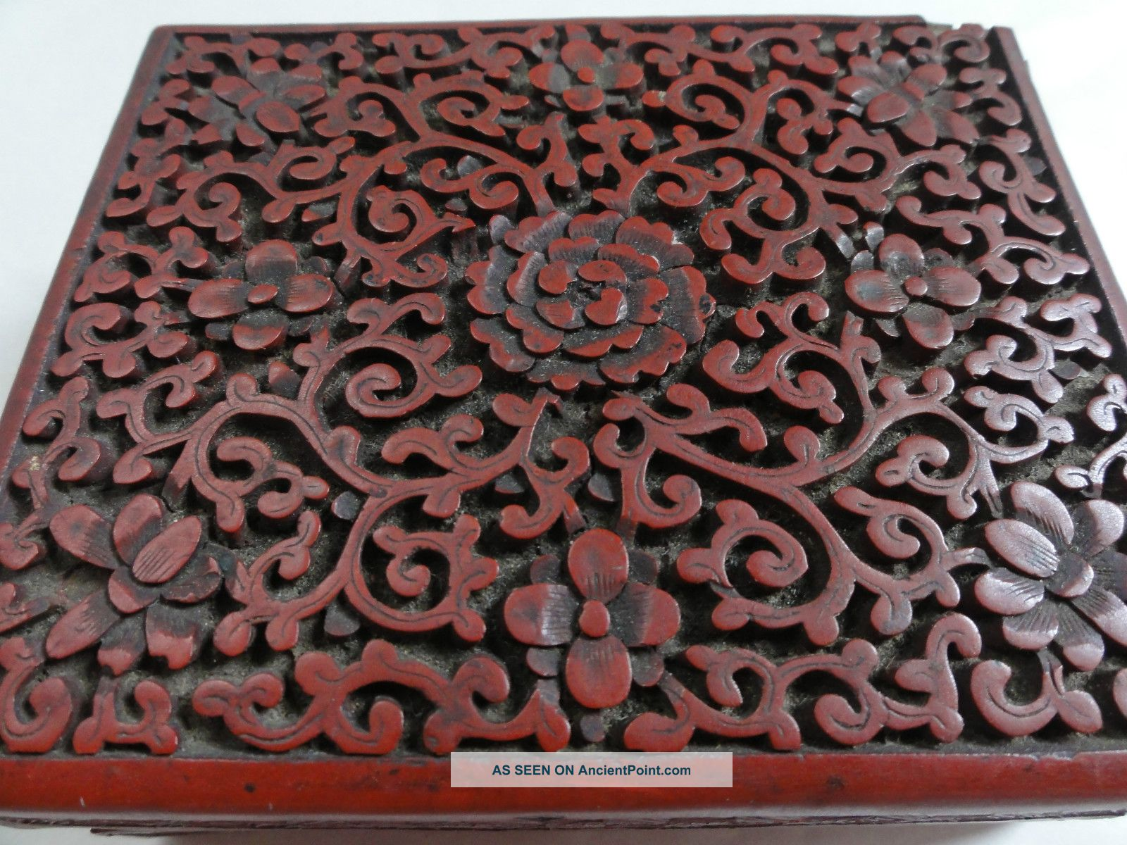 Antique Chinese Carved Cinnabar Boxes photo