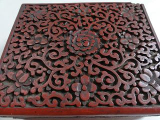 Antique Chinese Carved Cinnabar photo