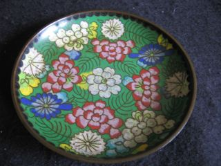 Vintage Japanese Cloisonne Floral Enamel On Copper Pindish Ex photo
