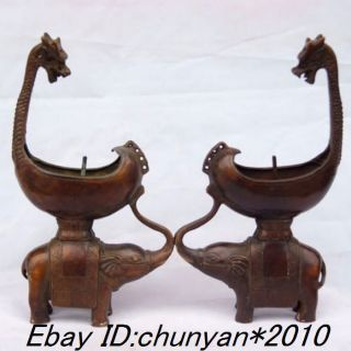 Chinese Antique Bronze Dragon Elephant Candlestick Statues photo