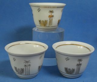 3 Vintage Chinese Porcelain Islamic Design Tea Bowls Golden Palm Trees,  Moon,  Star photo