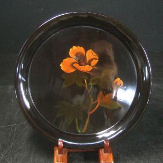 F268: Japanese Yakumo Lacquer Ware Tea - Thing Plate With Flower 3/5 photo