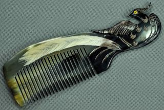 Chinese Producing The Finest Ox Horn Comb Black (peacock Carving) photo