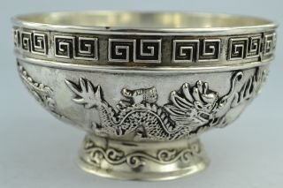 Asian Old Collectibles Decorated Handwork Tibet - Silver&white Copper Dragon Bowl photo