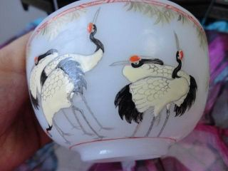 Crane Flower Bowl Carves Chinese Exquisite Old photo