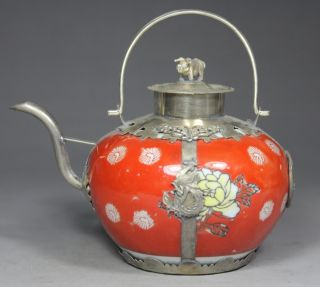 Chinese Handwork Painting Flower Dragon Phoenix Old Porcelain Tea Pot photo
