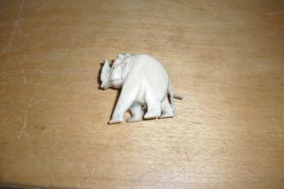 Antique Rare Chinese Faux Ivory Carved Elephant Brooch photo