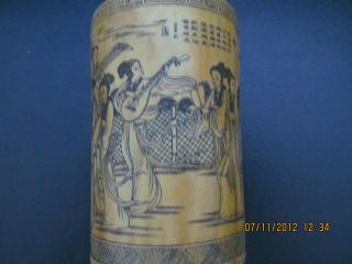 Exquisite Chinese Bamboo Brush Pot Girls Song And Dance Painting Design photo