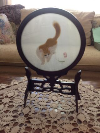 Vintage Suzhou Silk Embroidered Cat In Bubble Glass With Rosewood Frame photo