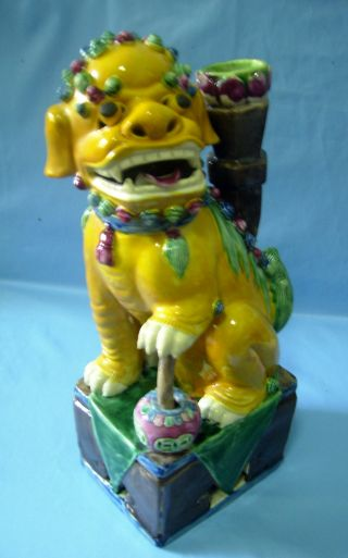 Antique Rare Porcelain Foo Dog - Candle Holder - Ball Ching Period Mark Underside U photo