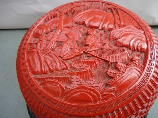 Old Guaranteed Carved Antique Cinnabar - Chinese Large Heavy Round Pot 7 1/8x4 1/2 photo